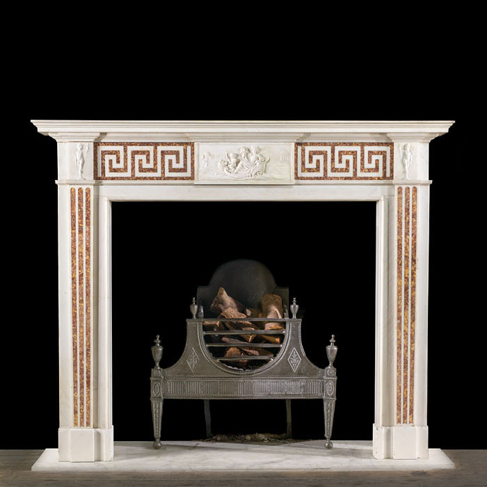 Georgian Statuary and Brocatelle marble fireplace