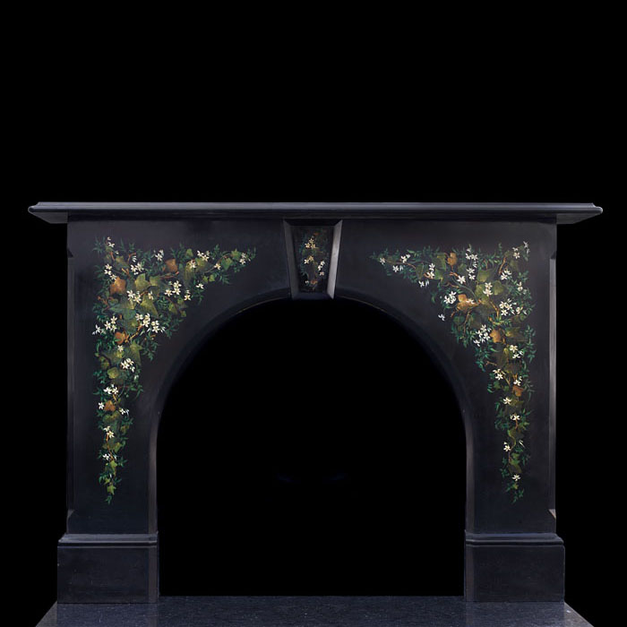 A painted black slate Victorian fireplace