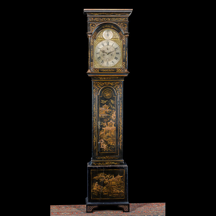 A Chinoiserie Lacquered Longcase Clock