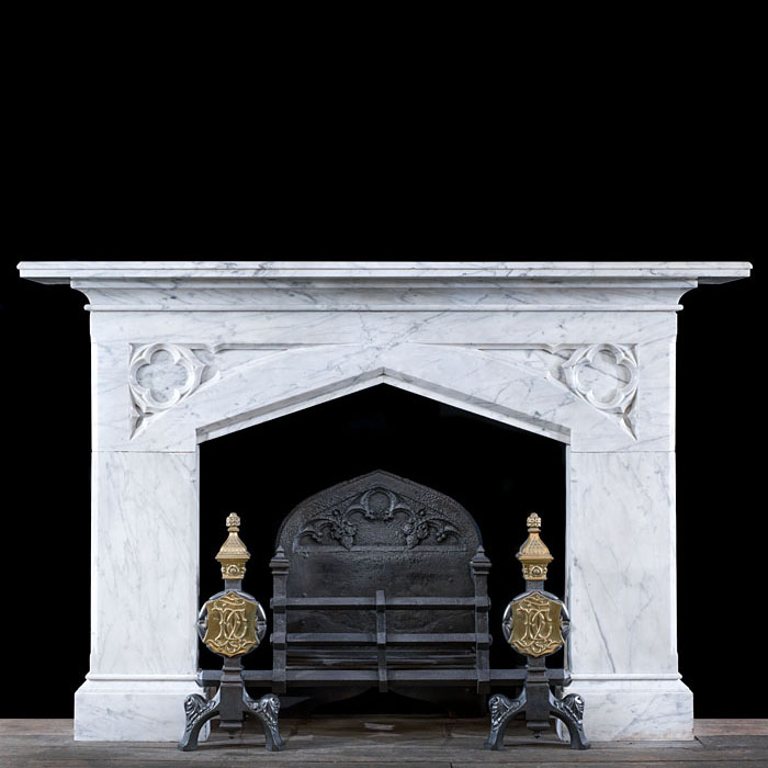 A Large Victorian Gothic Revival Fireplace
