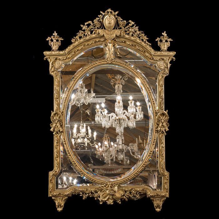 A Large Ornate French Gilt Wall Mirror