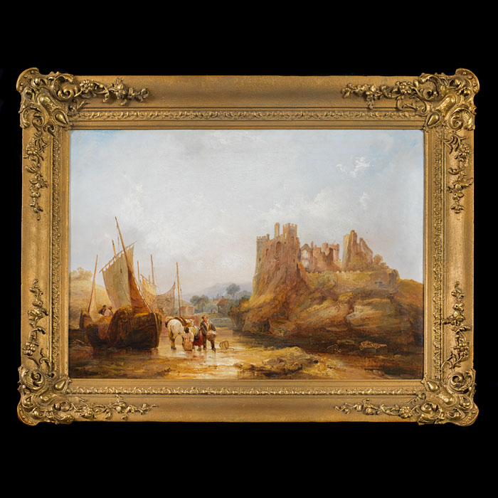 19th century Framed Landscape Oil with Ruins