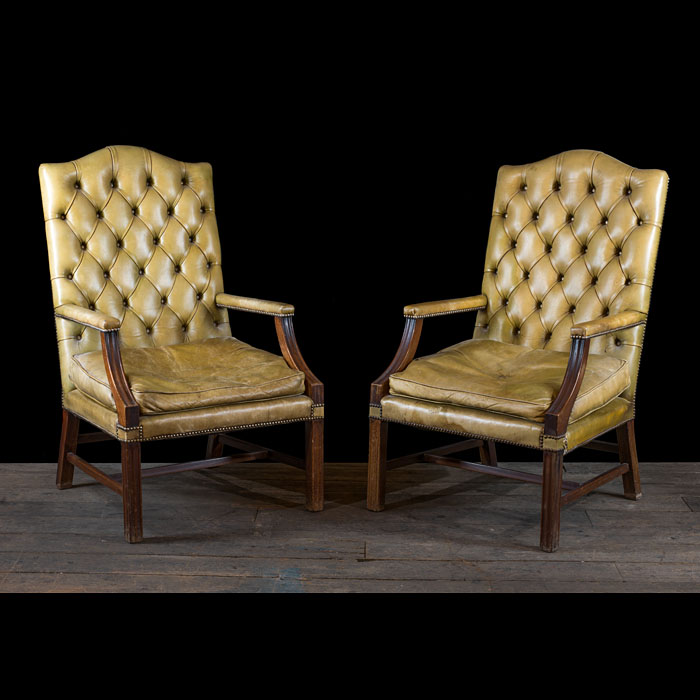 Pair of Leather Gainsborough Armchairs