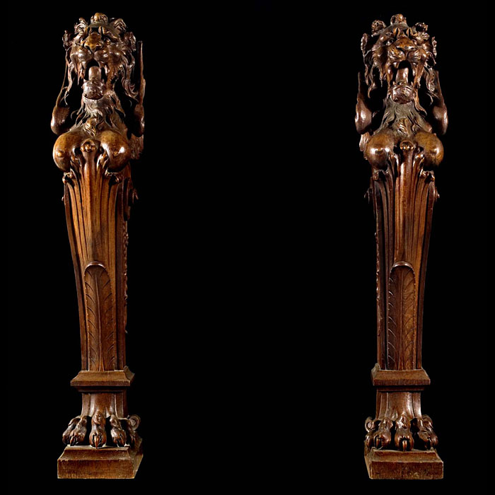 A Pair of Oak Mythical Winged Lion Terms