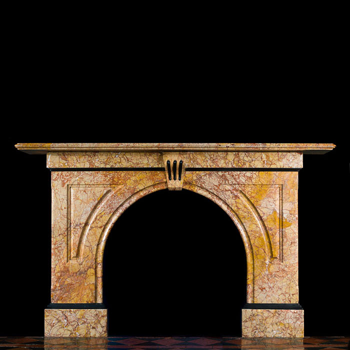 A Rosa Valencia Marble Arched Fireplace