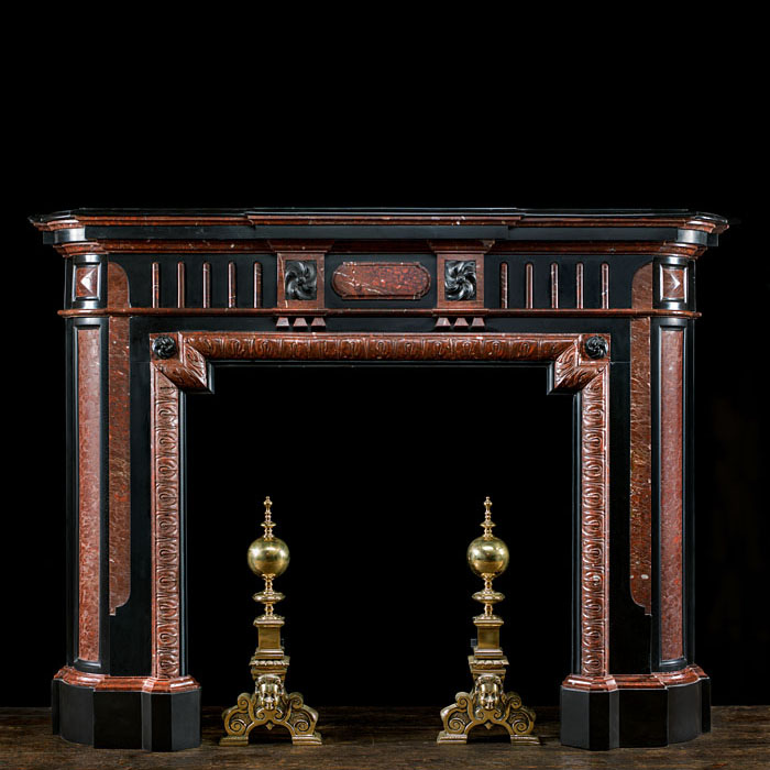 A Black & Red Griotte Marble Fire Surround