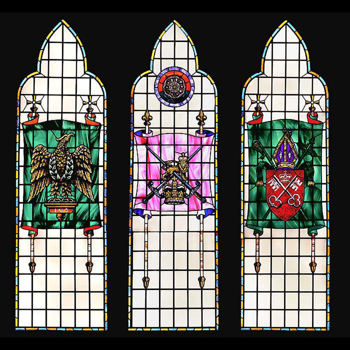 Antique Set of Stained Glass Windows with Regimental Origins