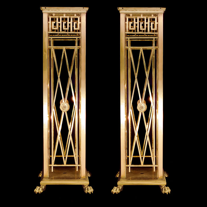 A Pair of Bronze Regency Style Pedestals