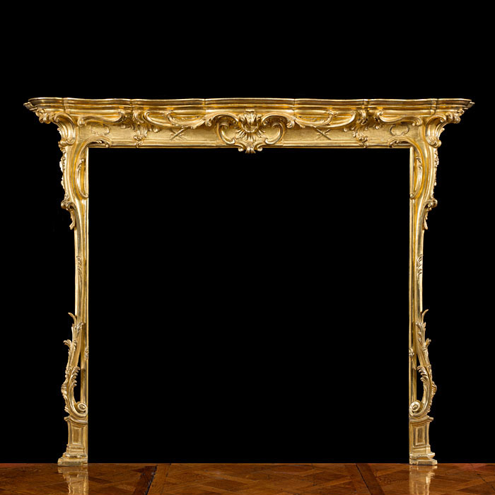 English Rococo Giltwood Fireplace Surround