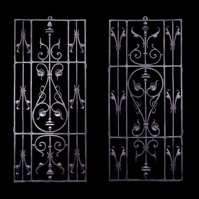 Pair of wrought iron window grilles