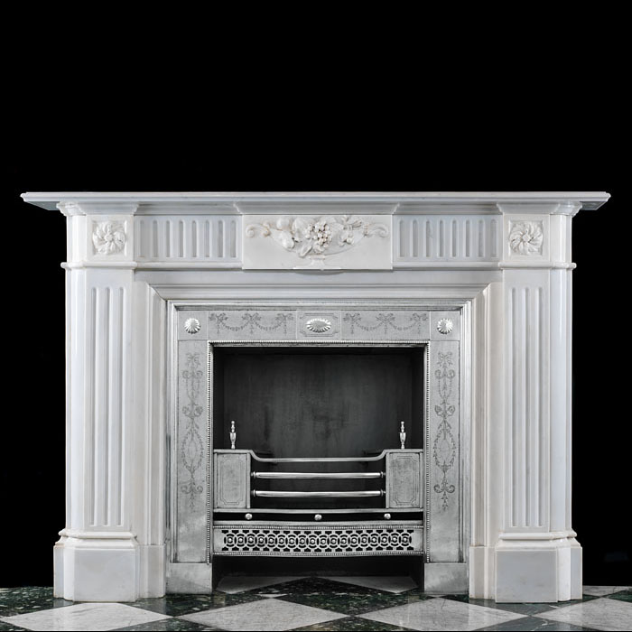 A Regency Style Statuary Marble Fireplace