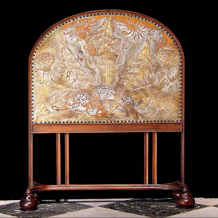 A Walnut & Leather Arts & Crafts Screen
