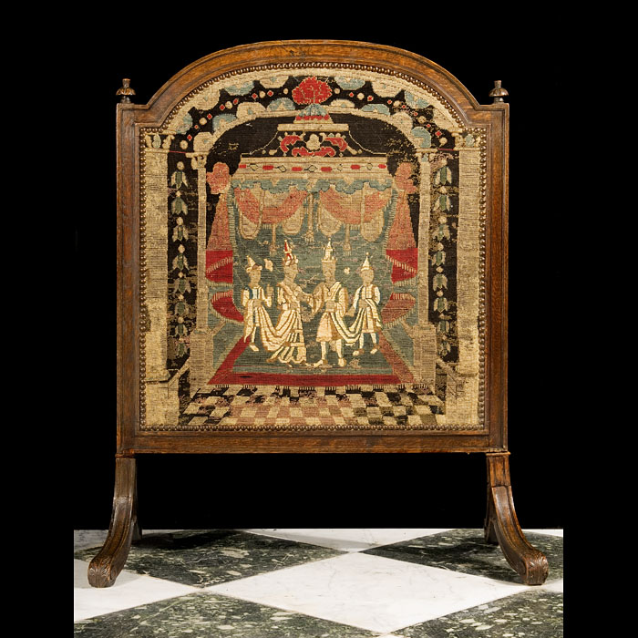 A Baroque Style Tapestry & Oak Fire Screen
