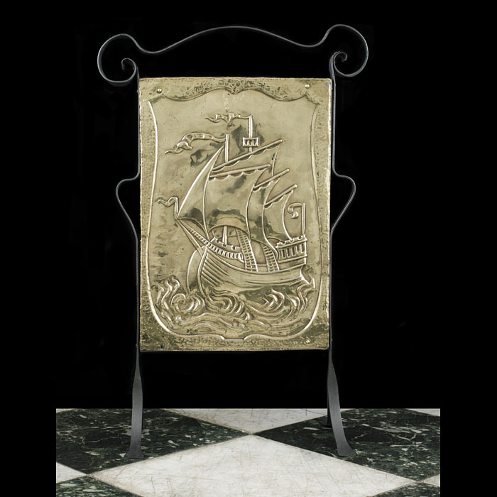 An Arts & Crafts Galleon Fire Screen