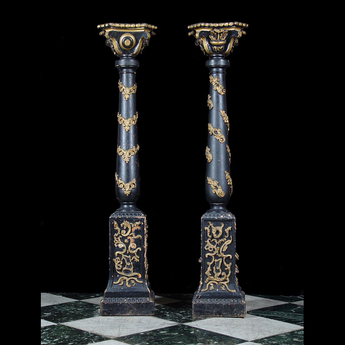 A pair of Baroque style wooden pedestals