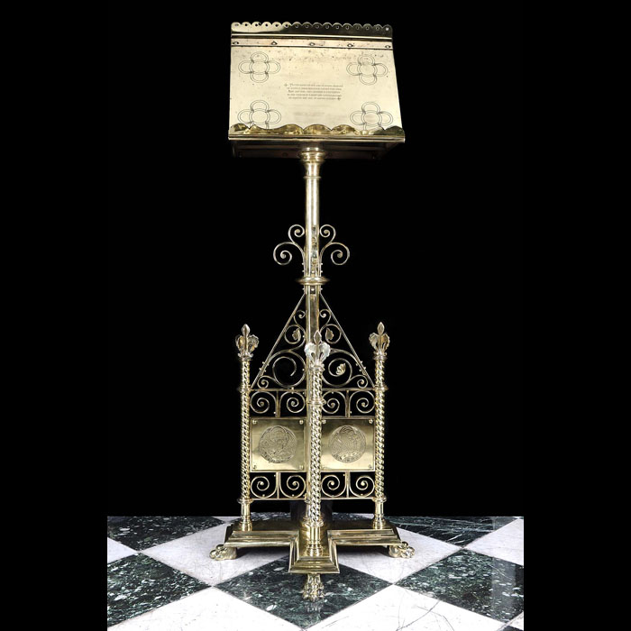 An Engraved Gothic Revival Brass Lectern